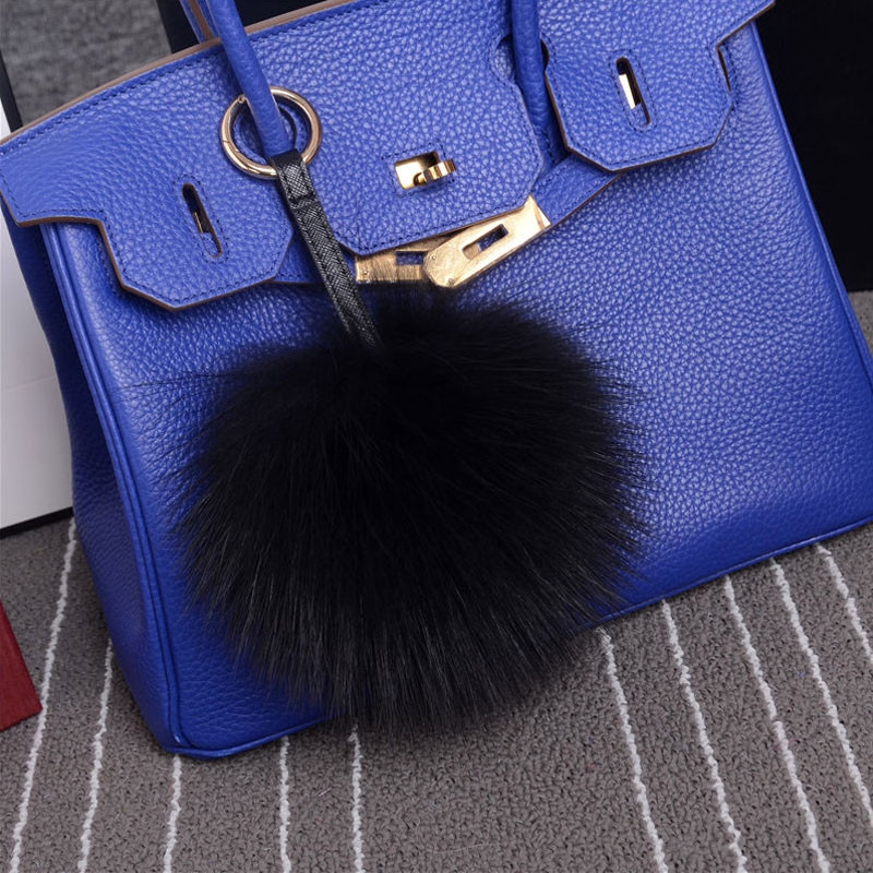 Faux Raccoon Fur Ball PomPom Keychain Phone Handbag Key Ring BLACK RANDOM SIZE