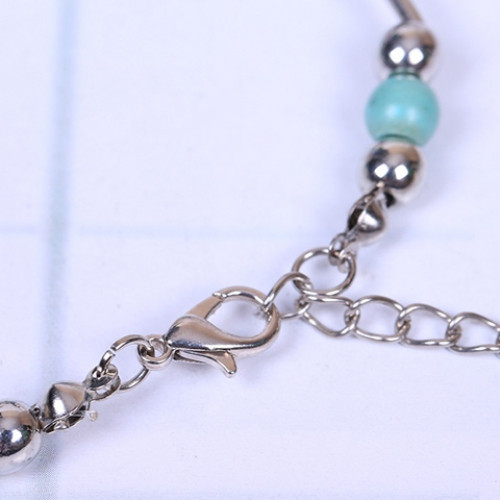 Retro Faux Turquoise Butterfly Bracelet SILVER AND BLUE