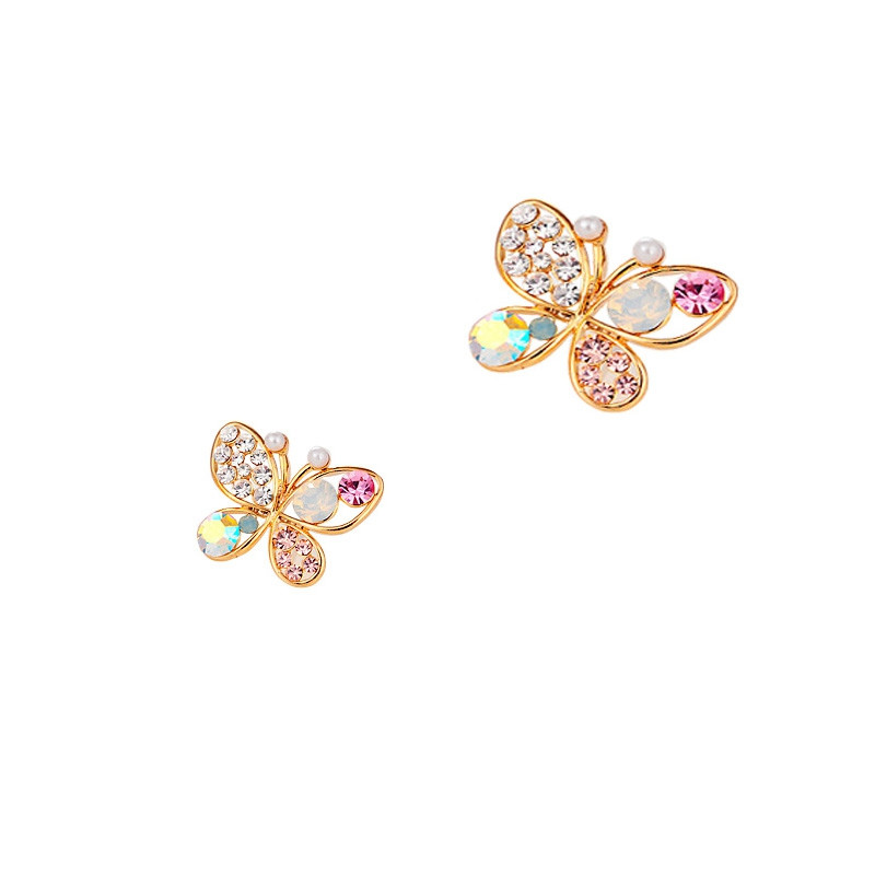 Simple Openwork Inlaid Colored Diamond Butterfly Earrings GOLD