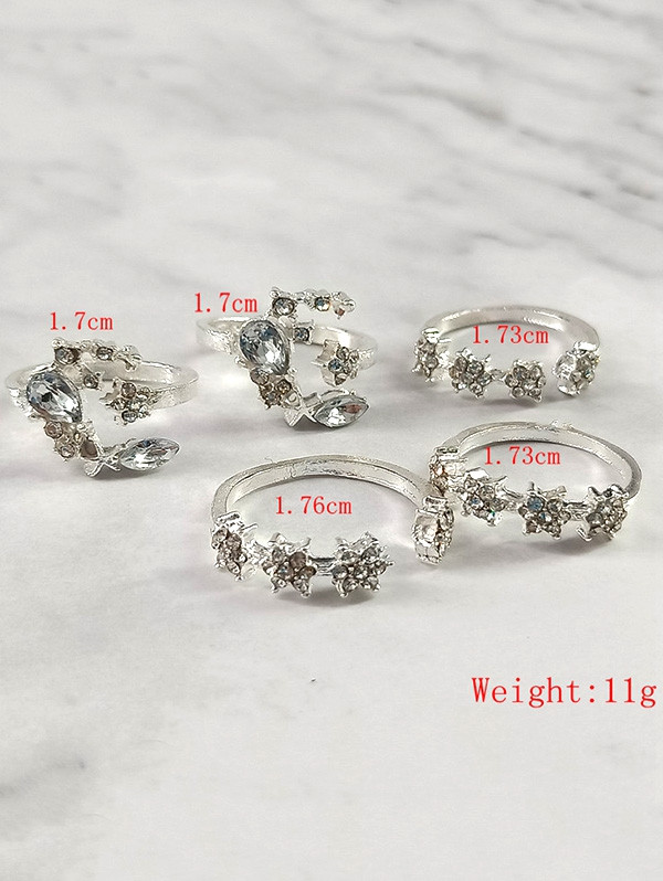 5Pcs Vintage Moon Star Shape Joint Rings SILVER