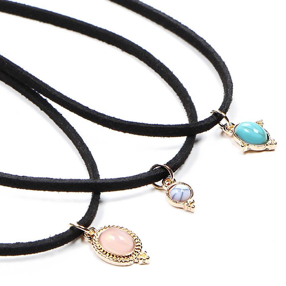 Velvet Faux Rammel Oval Choker Necklaces BLACK