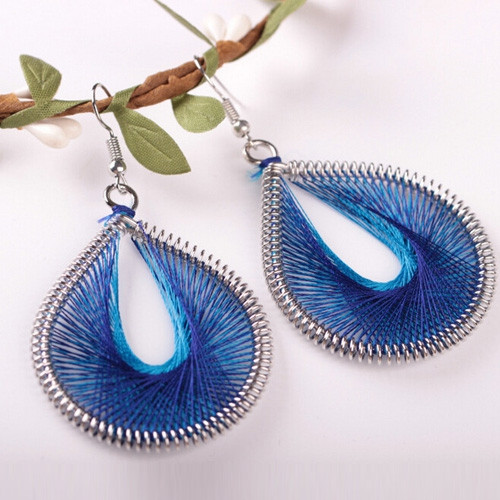 Bohemia Silk Yarn Waterdrop Statement Earrings BLUE