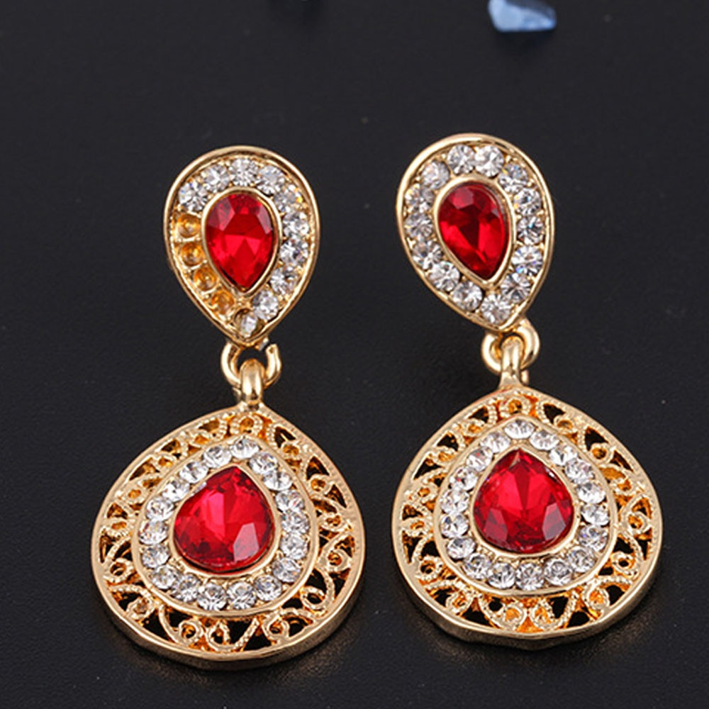 2PCS Necklace Crystal Earrings Water Drop Pendant Jewelry RED