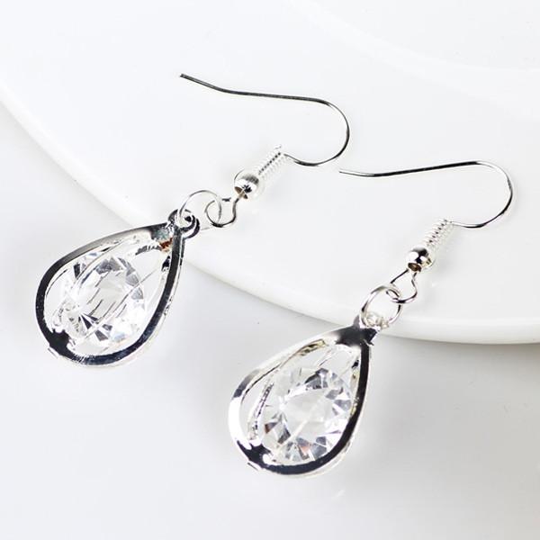 Faux Crystal Water Drop Hook Earrings SILVER