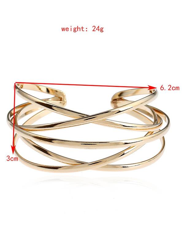 Simple Alloy Multilayered Geometric Cuff Bracelet GOLDEN