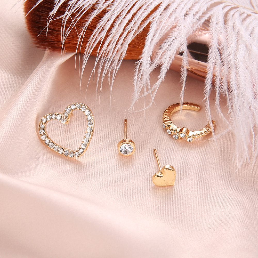 4 Pcs/Set Simple Heart Geometric Crystal for Women Gold Fashion Bohemian Earring GOLD 4PCS