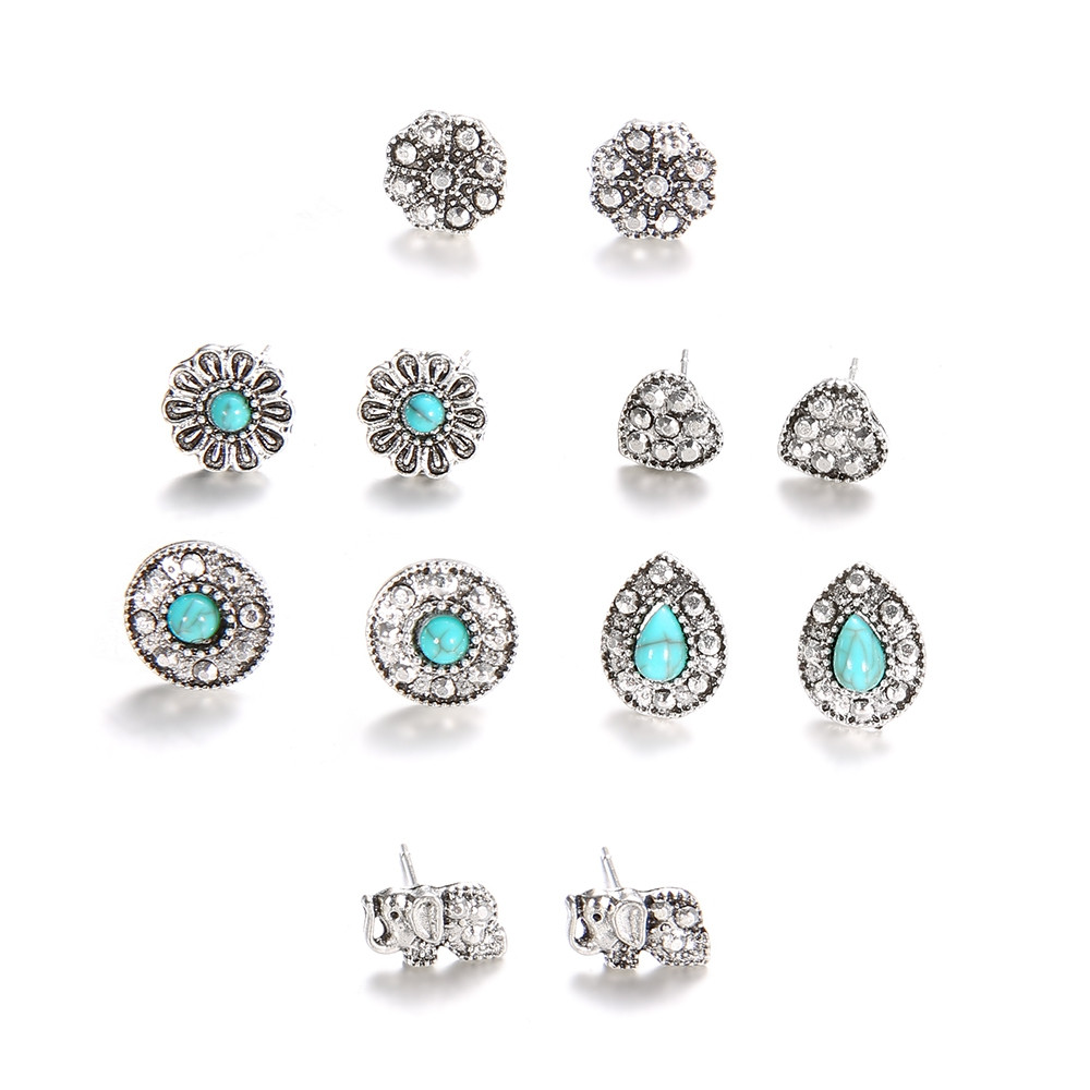 6 Pairs/Set Bohemian Elephant Flower Stone Stud Earrings for Women Jewelry SILVER 6 PAIRS