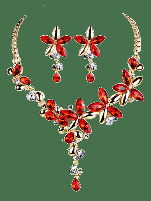 Vintage Crystal Floral Embellished Alloy Pendent Necklace Earrings Set RED