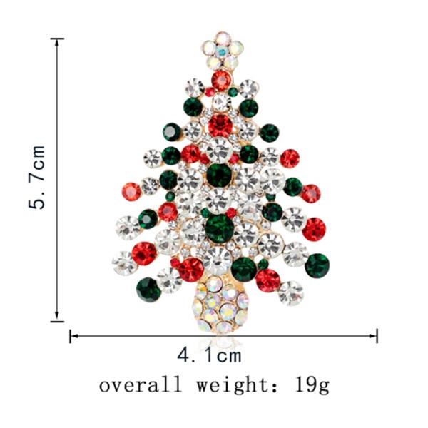 Zircon Christmas Tree Brooch BLACKISH GREEN