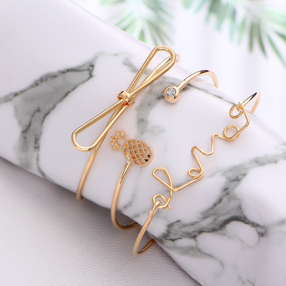 3pcs Braclet Set Stainless Steel Crystal Braclet Star Moon Love Wedding Cuff Bangle Bracelet GOLD