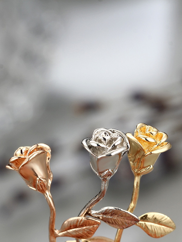 Alloy Rose Flower Pendant Necklace ROSE GOLD