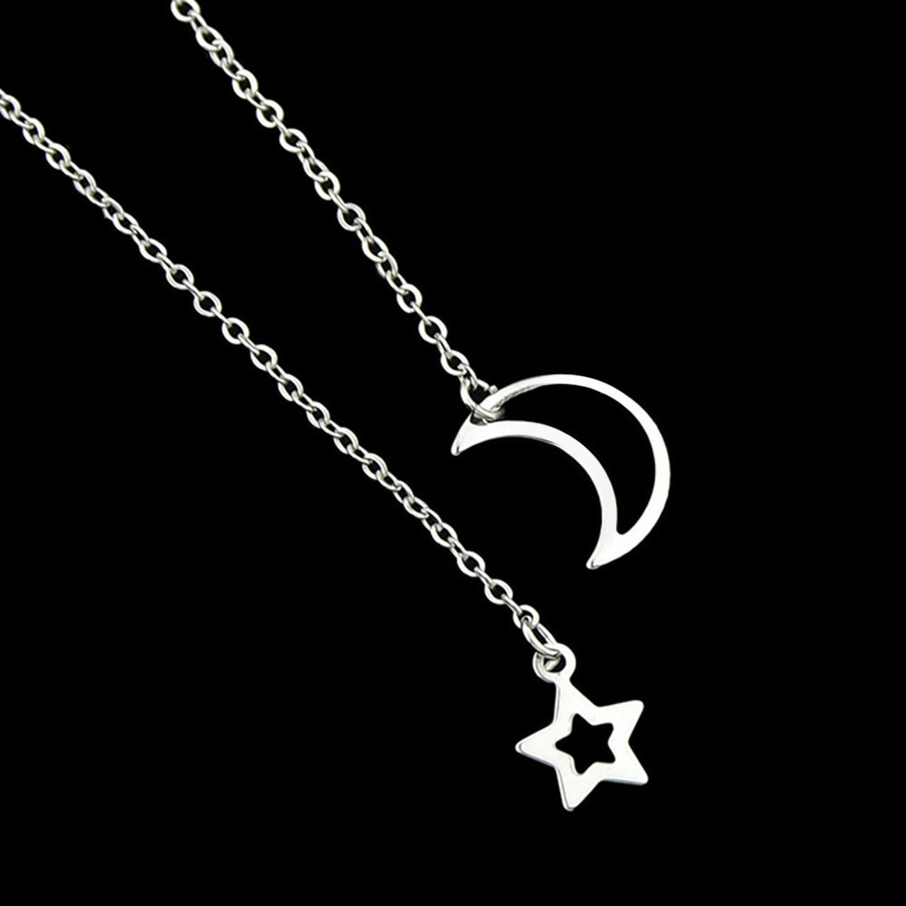 Star Moon Design Decoration Chain Necklace SILVER