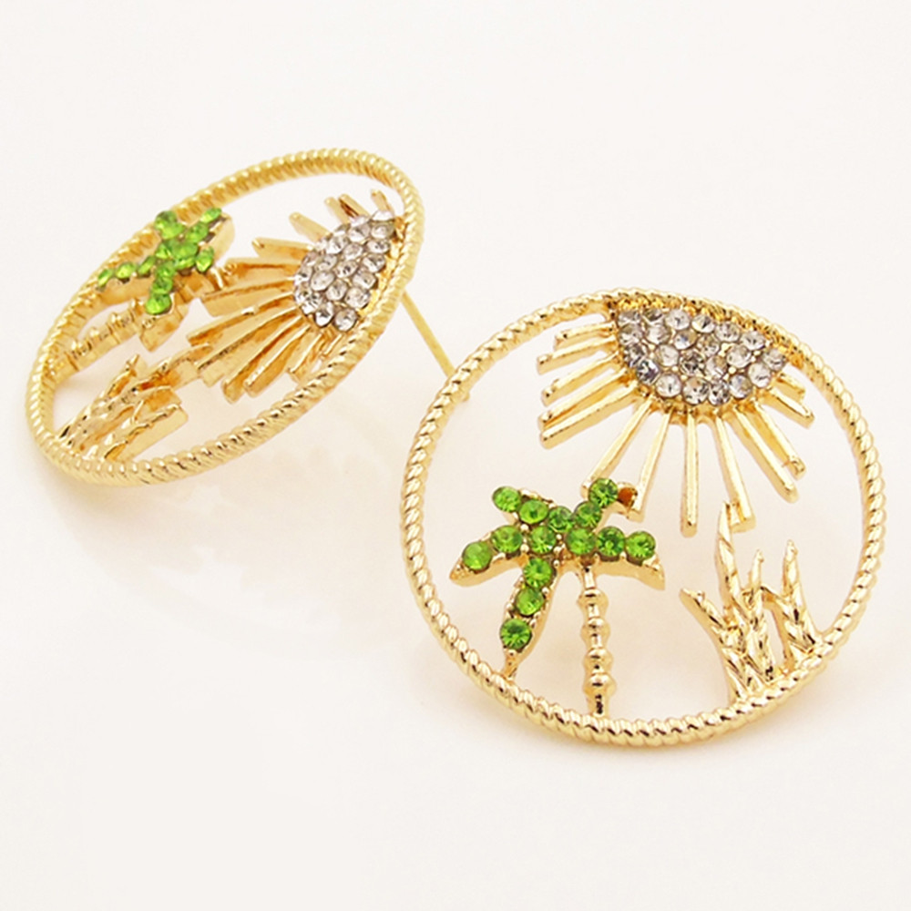 Coconut Tree Pattern Hollow Out Earrings GOLD