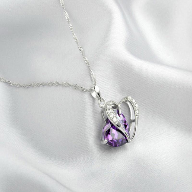 Sterling Silver Faux Crystal Gemstone Amethyst Heart Pendant Necklace  PURPLE