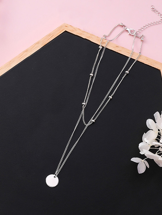 Layered Round Shape Beaded Necklace SILVER