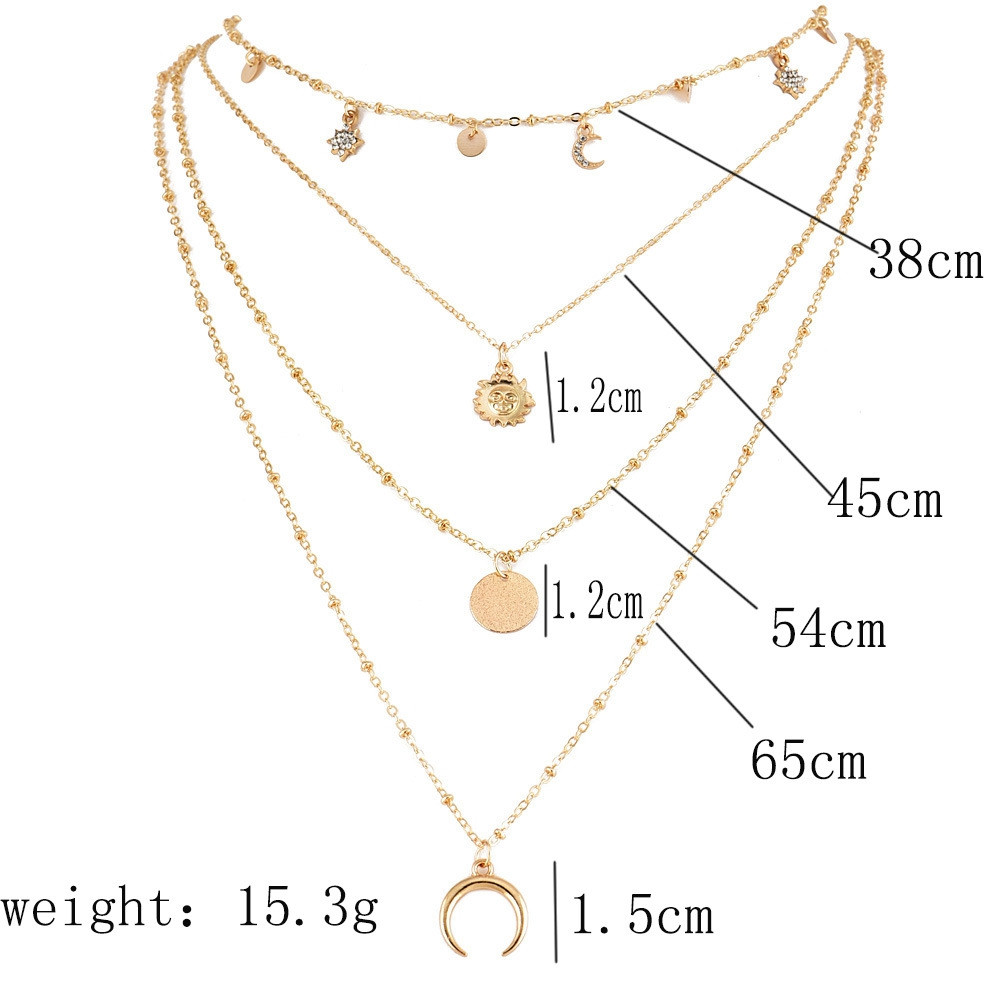 Fashion New Jewelry Moon Sun Stars Flakes Women Necklaces GOLD 1 SET