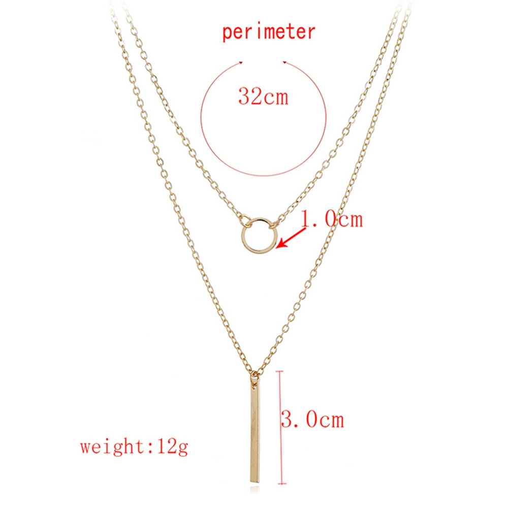 Geometric Shape Layer Chain Necklace GOLD