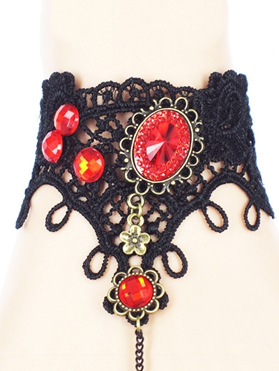 Spider Lace Bracelet with Ring BLACK