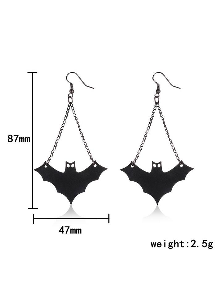 PU Leather Fan Shaped Bat Halloween Earrings BLACK