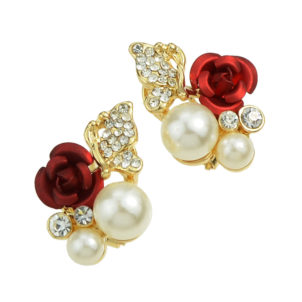 Rhinestone Simulated-pearl and Flower Shape Flower Earrings GOLD