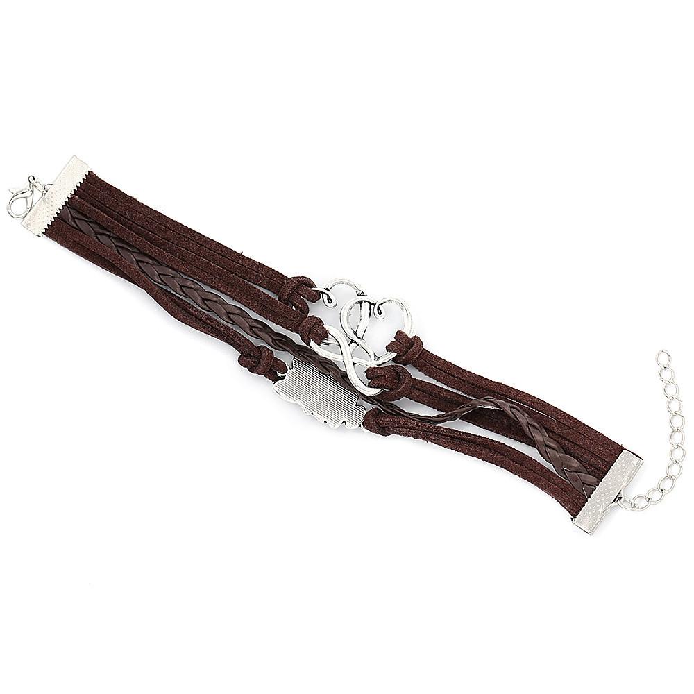 Cartoon Animal Owl Love Heart Figure 8 Decoration Unisex Multilayer Weave Alloy Rope Bracelet BROWN