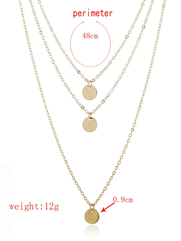 Layered Metal Disc Necklace  GOLD