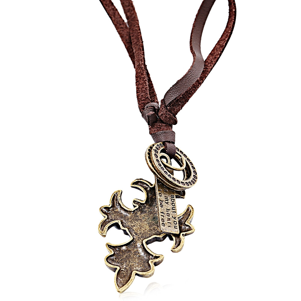 Old Classical style Cross Pendant Pattern Carved Ladies Leather Neklace BROWN