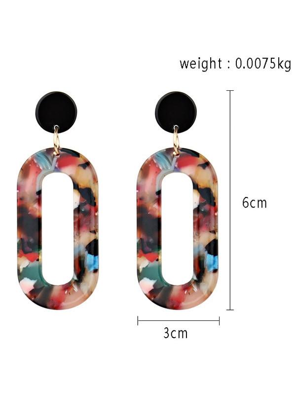 Boho Acrylic Oval Drop Earrings RED