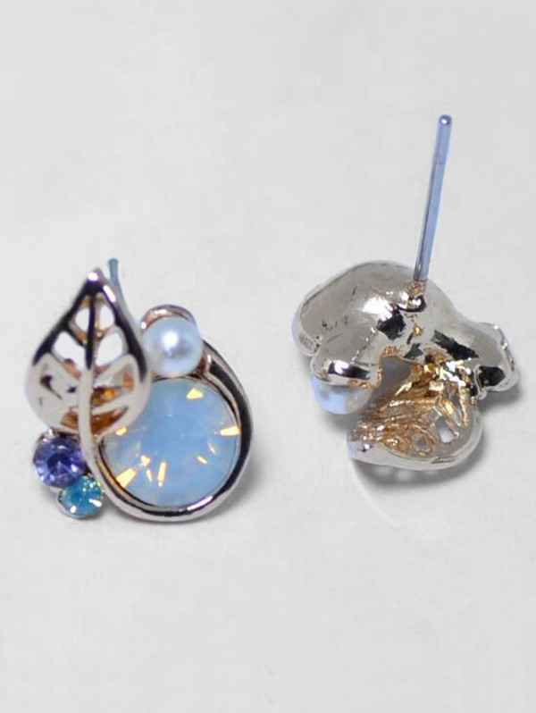 Faux Pearl Rhinestone Leaf Tiny Stud Earrings GOLDEN