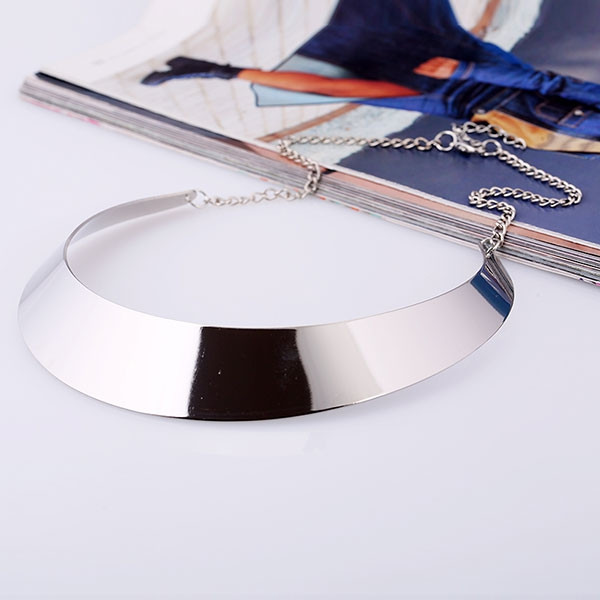Punk Metal Moon Shape Choker Necklace SILVER