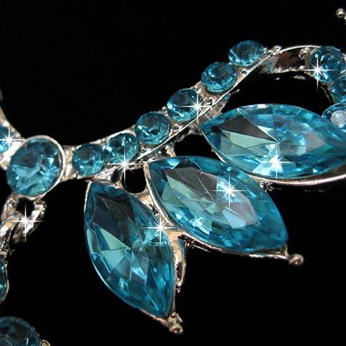 Waterdrop Faux Crystal Bride Jewelry Set BLUE