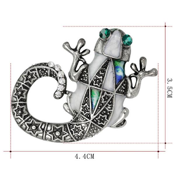 Mechanical Lizard Engraved Faux Gem Brooch SILVER