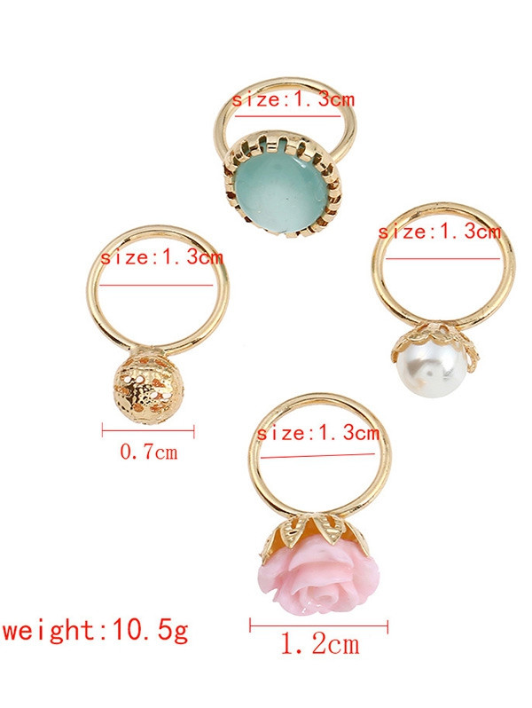 4 PCS Faux Gem Rose Rings GOLDEN