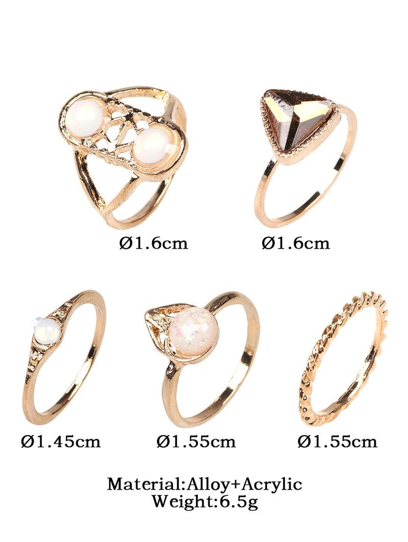 Faux Gem Opal Geometric Finger Ring Set GOLDEN