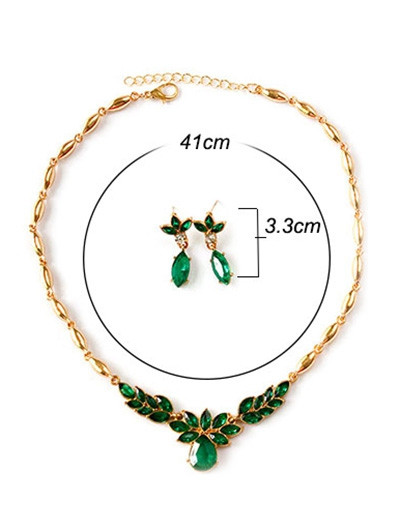 Artificial Crystal Pendant Necklace Earrings  JUNGLE GREEN