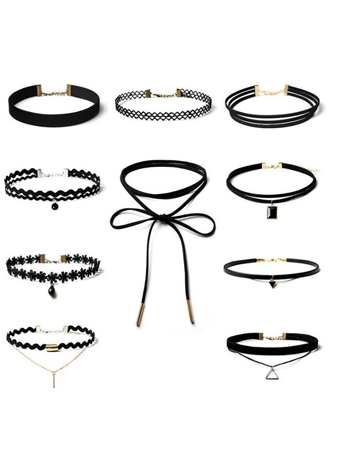 Flower Triangle Bar Choker Necklace Set BLACK