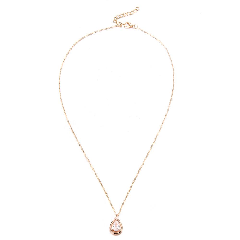 Golden Drop Diamond Pendant Necklace Female Clavicle Short Chain GOLD 1PC