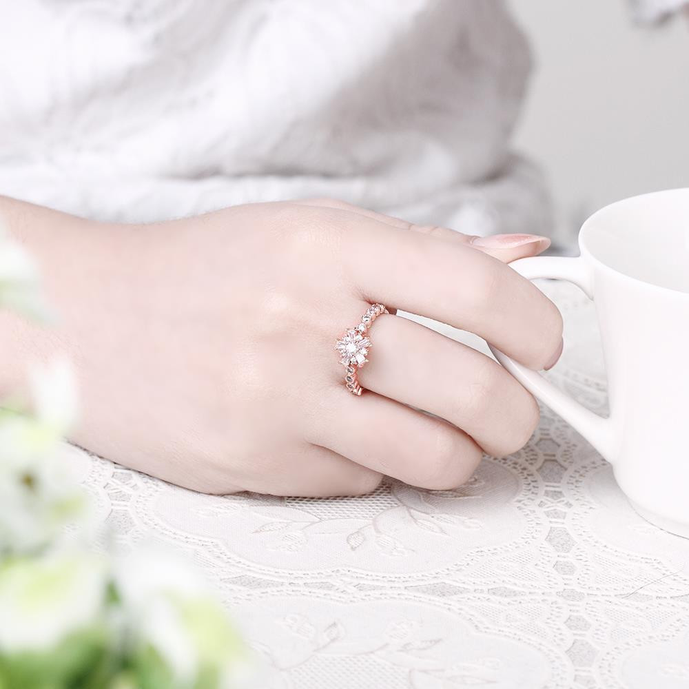 R015-A-7 Gold Plated Korean Style New Design Finger Ring for Lady ROSE GOLD 7