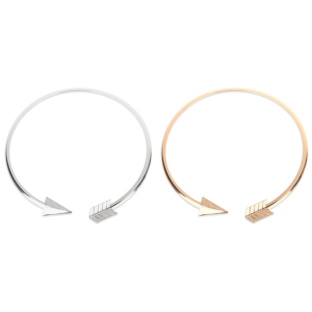 Fashionable Arrow Design Geometric Round Triangle Women Choker Necklace GOLDEN