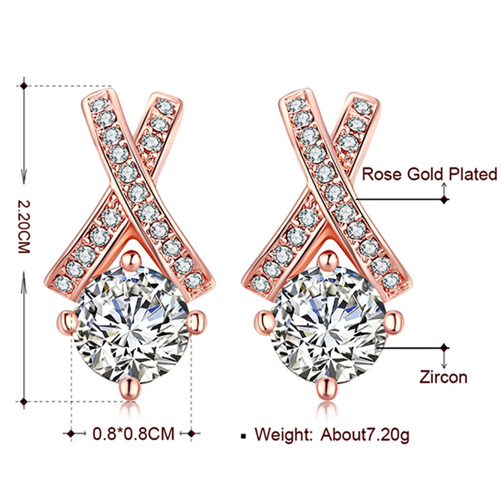 Alloy Rhinestone Geometric Earrings ROSE GOLD