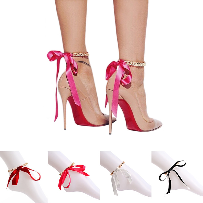 Fashion Beach Ribbon Chain Anklet for Lady RED