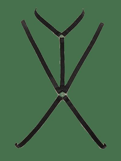 Geometric Harness Bra Bondage Necklace Cross Body Jewelry BLACK