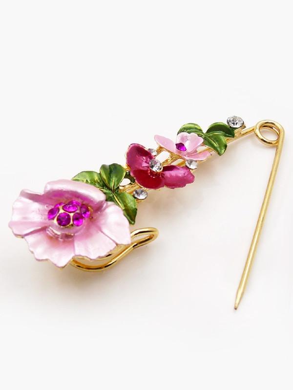 Flower Faux Diamond Brooch Pin TUTTI FRUTTI