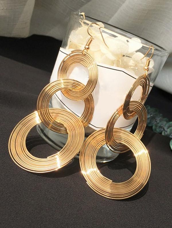 Metal Circle Hook Earrings GOLDEN