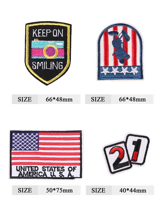 4PCS American Flag Star Design Embroidered Patches COLORMIX
