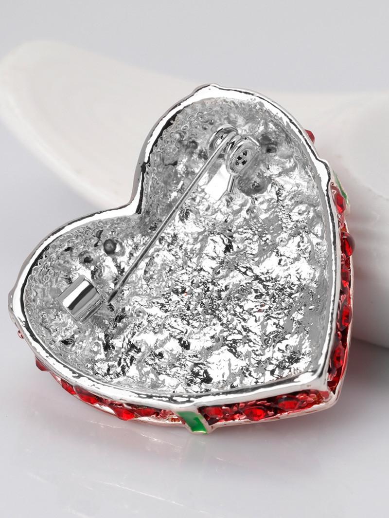 Faux Ruby Heart Shape Gift Box Brooch RED