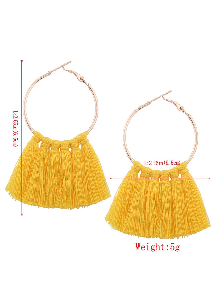 Alloy Circle Tassel Hoop Earrings YELLOW