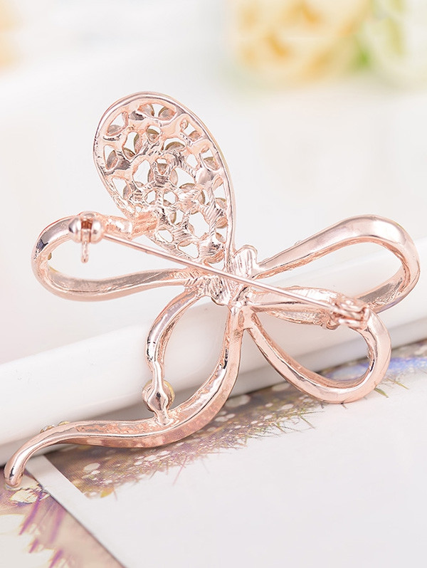 Rhinestone Hollow Out Bowknot Metal Brooch ROSE GOLD