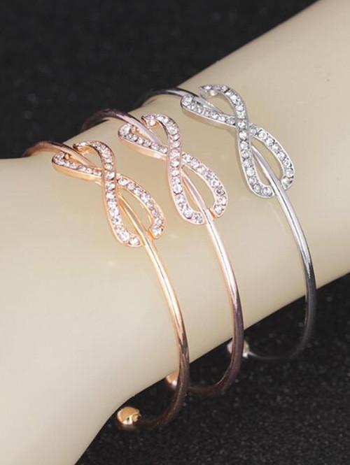 Rhinestone Infinite Cuff Bracelet GOLDEN