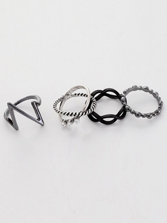 A Suit of Alloy Lighting Rings SILVER ONE-SIZE